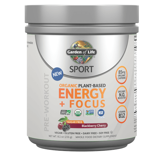 Garden of Life SPORT Organic Plant-Based Energy Focus Sugar Free Blackberry Cherry 231 gram powder