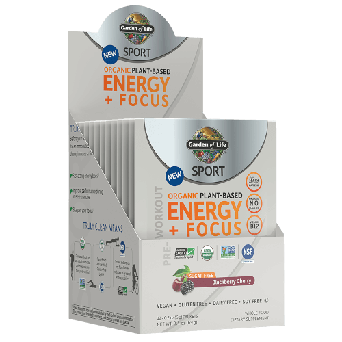 Garden of Life SPORT Organic Plant-Based Energy Focus Sugar Free Blackberry Cherry 12 Single Serv Packs